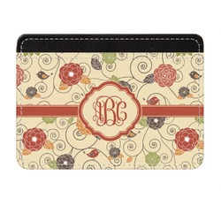Fall Flowers Genuine Leather Front Pocket Wallet (Personalized)
