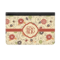 Fall Flowers Genuine Leather ID & Card Wallet - Slim Style (Personalized)