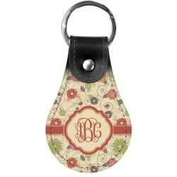 Fall Flowers Genuine Leather  Keychain (Personalized)