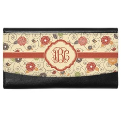 Fall Flowers Genuine Leather Ladies Wallet (Personalized)