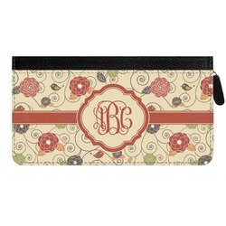 Fall Flowers Genuine Leather Ladies Zippered Wallet (Personalized)