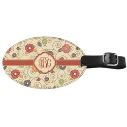 Fall Flowers Genuine Leather Oval Luggage Tag (Personalized)
