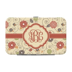 Fall Flowers Genuine Leather Small Framed Wallet (Personalized)