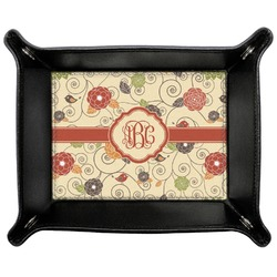 Fall Flowers Genuine Leather Valet Tray (Personalized)