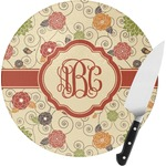 Fall Flowers Round Glass Cutting Board (Personalized)