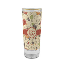 Fall Flowers 2 oz Shot Glass - Glass with Gold Rim (Personalized)