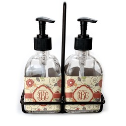 Fall Flowers Soap & Lotion Dispenser Set (Glass) (Personalized)