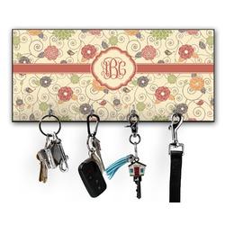 Fall Flowers Key Hanger w/ 4 Hooks (Personalized)