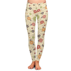 Fall Flowers Ladies Leggings - Large (Personalized)