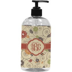 Fall Flowers Plastic Soap / Lotion Dispenser (Personalized)
