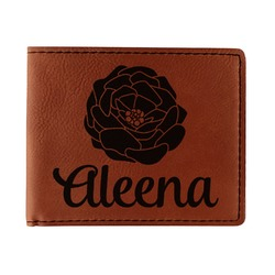 Fall Flowers Leatherette Bifold Wallet (Personalized)