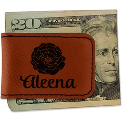 Fall Flowers Leatherette Magnetic Money Clip - Single Sided (Personalized)