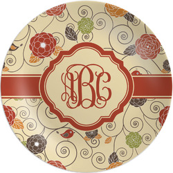 """Fall Flowers Melamine Plate - 8"""" (Personalized)"""