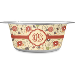 Fall Flowers Stainless Steel Pet Bowl (Personalized)