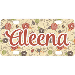 Fall Flowers Mini / Bicycle License Plate (Personalized)