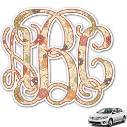Fall Flowers Monogram Car Decal (Personalized)