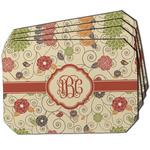 Fall Flowers Dining Table Mat - Octagon w/ Monogram