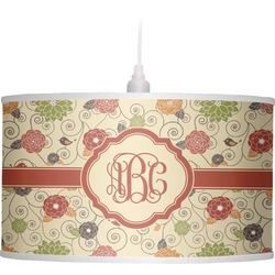 Fall Flowers Drum Pendant Lamp (Personalized)