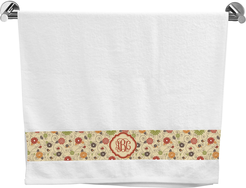 Fall Flowers Bath Towel Personalized Youcustomizeit