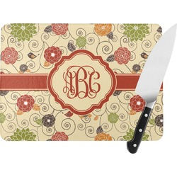 Fall Flowers Rectangular Glass Cutting Board (Personalized)