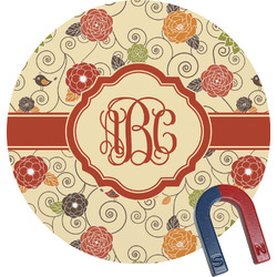 Fall Flowers Round Magnet (Personalized)