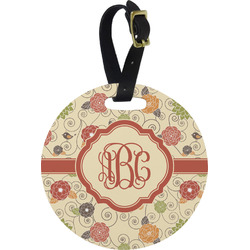 Fall Flowers Round Luggage Tag (Personalized)