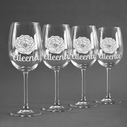 Fall Flowers Wine Glasses (Set of 4) (Personalized)