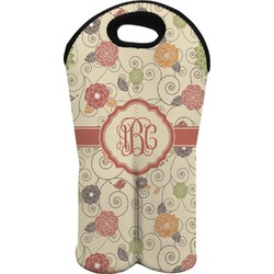 Fall Flowers Wine Tote Bag (2 Bottles) (Personalized)