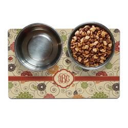 Fall Flowers Pet Bowl Mat (Personalized)