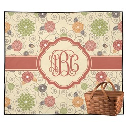 Fall Flowers Outdoor Picnic Blanket (Personalized)