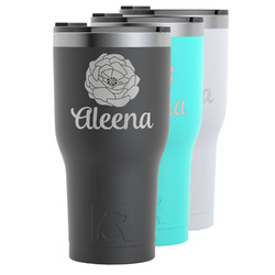 Fall Flowers RTIC Tumbler - Black (Personalized)