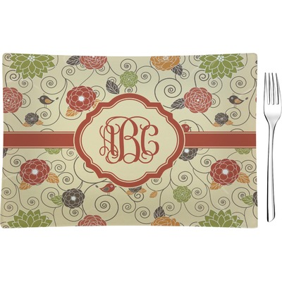 Fall Flowers Rectangular Glass Appetizer / Dessert Plate - Single or Set (Personalized)
