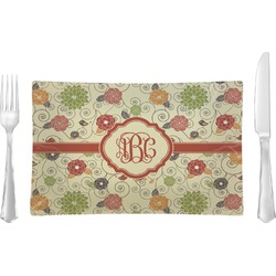 Fall Flowers Glass Rectangular Lunch / Dinner Plate - Single or Set (Personalized)