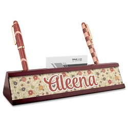 Fall Flowers Red Mahogany Nameplate with Business Card Holder (Personalized)