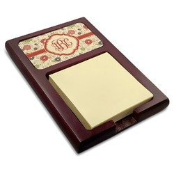 Fall Flowers Red Mahogany Sticky Note Holder (Personalized)