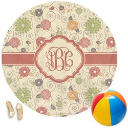 Fall Flowers Round Beach Towel (Personalized)