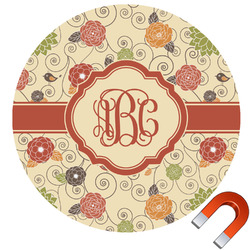 Fall Flowers Round Car Magnet (Personalized)