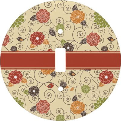 Fall Flowers Round Light Switch Cover (Personalized)