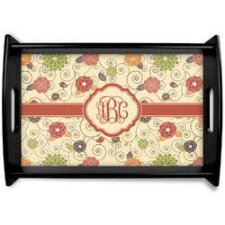 Fall Flowers Black Wooden Tray (Personalized)