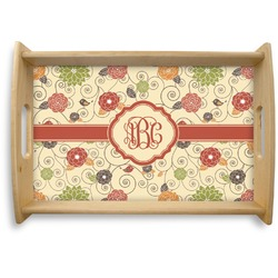 Fall Flowers Natural Wooden Tray (Personalized)
