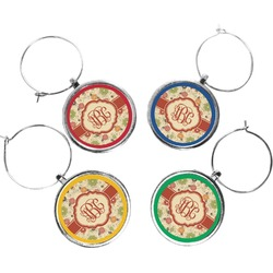 Fall Flowers Wine Charms (Set of 4) (Personalized)