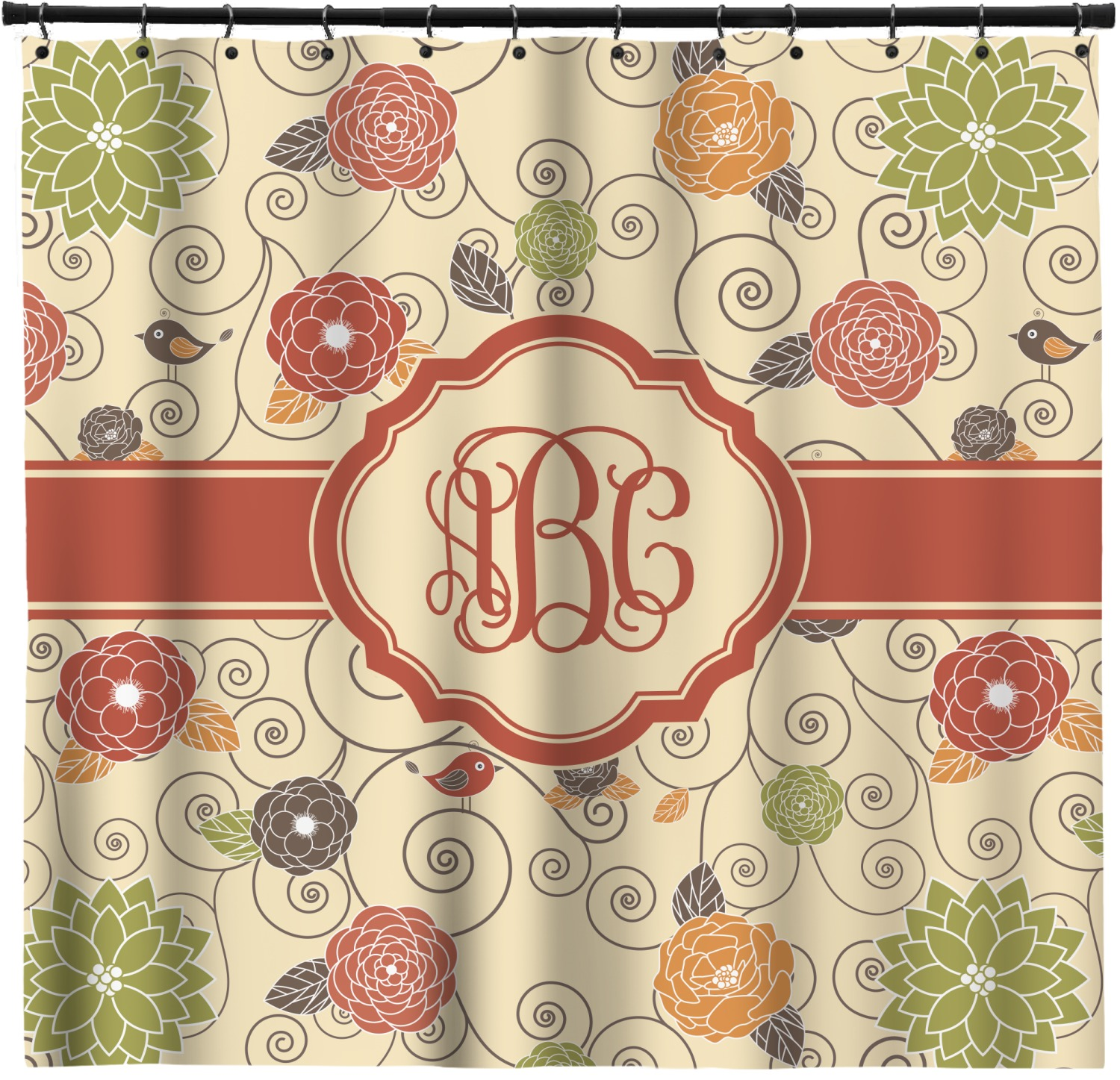 Fall Flowers Shower Curtain Custom Width Height Personalized Youcustomizeit
