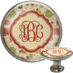 Fall Flowers Cabinet Knob (Silver) (Personalized)
