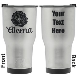 Fall Flowers RTIC Tumbler - Silver - Engraved Front & Back (Personalized)