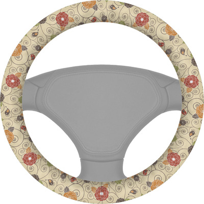 Fall Flowers Steering Wheel Cover (Personalized)