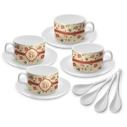 Fall Flowers Tea Cup - Set of 4 (Personalized)