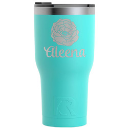 Fall Flowers RTIC Tumbler - Teal - Engraved Front (Personalized)