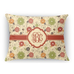 Fall Flowers Rectangular Throw Pillow Case (Personalized)