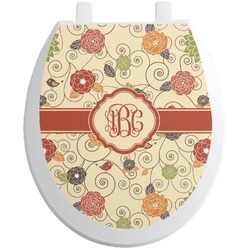 Fall Flowers Toilet Seat Decal (Personalized)