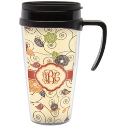 Fall Flowers Travel Mug with Handle (Personalized)